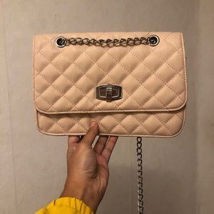 Leather Chain Beige Purse